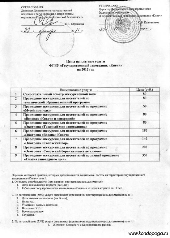 Цены на платные услуги ФГБУ Государственный заповедник Кивач 2012
