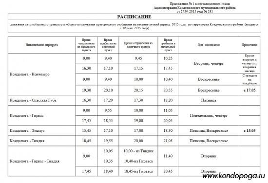 Расписание Кондопога пригородное сообщение автобусы весна-лето (вводится с  06 мая  2015 года)
