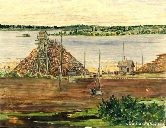 """""""Элеватор в Кондопоге"""". 1933 -1934 гг. Бумага. Акварель, карандаш цветной. 24 x  30,7 см."""