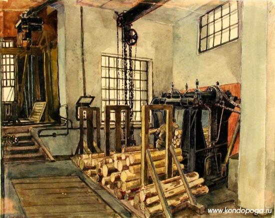 """""""Машина №1 на бумажном комбинате в Кондопоге"""". 1933 -1934 гг. Бумага. Акварель, карандаш цветной. 24 x  31 см."""
