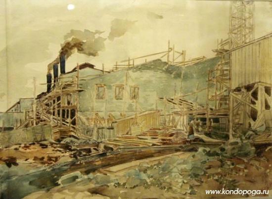 """""""Строительство целлюлозного комбината. Кондопога"""". 1933 -1934 гг. Бумага. Акварель, карандаш цветной. 23 x  30 см."""
